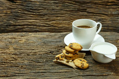 Still life cookies chocolate chip, raw food, coffee, fresh milk Stock Photos