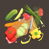 Still Life With Cooking Ingredients For Fresh Vegan Salad With Raw And Fresh Vegetables Places Around Cutting Board. Illustration. Cucumber, Onion, Tomato Royalty Free Stock Photo