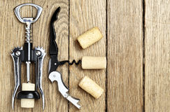 Still life with cork-screws and corks Stock Photo
