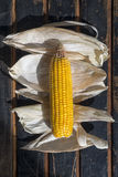 Still life of corn, lettuce, potatoes and garlic. Country style Royalty Free Stock Photos
