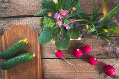 Still life of a cucumber radish on a wooden background. Still life of a cucumber radish on a wooden background Stock Photography