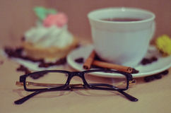 Still life. Cup, been, glass, flower, tea, coffee, flower, relax, cake Stock Photo