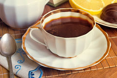 Still life : a Cup of black coffee on the table. Stock Photography