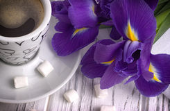 Still life with cup of coffe marshmallow iris flowers purple ribbon on white wooden background. Stock Photos
