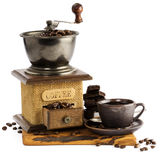 Still life with cup of coffee and coffee-mill Royalty Free Stock Image