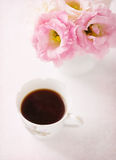 Still life with  cup of coffee  and flowers. Stock Photography