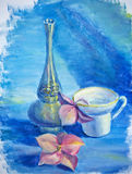 Still life with cup and flower Royalty Free Stock Photography