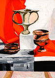 Still-life cup pot fine art paint color shapes Stock Photos