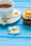Still life with cup of tea and cake Stock Photos