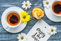 Still life with cup of tea and cake Royalty Free Stock Image