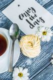 Still life with cup of tea and cake Royalty Free Stock Photo