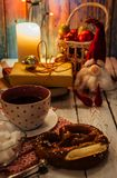 Still life with cup of tea and Christmas time atributes Stock Images