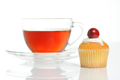 Still life with cup of tea and muffin Royalty Free Stock Photo