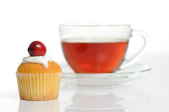 Still life with cup of tea and muffin Stock Photo