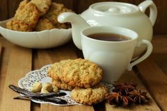 Still life with cup of tea and oatmeal cookies Stock Photo