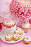 Still life of cupcakes with flower Royalty Free Stock Photos