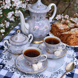Still life with cups of tea and home cake Royalty Free Stock Photography