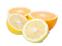 Still life of cut oranges and lemons Royalty Free Stock Photo