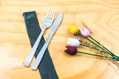 Still life cutlery and flowers Royalty Free Stock Images