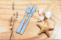Still life cutlery and shell Stock Photo