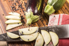 Still life with cutted eggplant slices Stock Photography