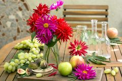 Still life with dahlias and apples, grape, figs  and antique bot Stock Images