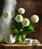 Still life with dahlias white. White dahlias stand in a glass vase, alongside white tea-pot and cup Royalty Free Stock Image