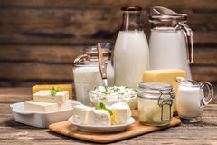 Still life with dairy product. On wooden background Stock Image