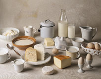 Still life with dairy products. On white backgound. Cheese, milk, cottage cheese, yogurt, butter, eggs Stock Photography