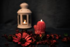 Still-life on a dark background. Decor of candles and candlesticks, with daisies and red leaves. Selective focus. Stock Photography