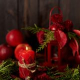 Still life on a dark background. Decor of candles and candlestic Royalty Free Stock Photos