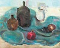 Still life on dark blue cloth. Still life with jug on dark blue cloth Stock Image