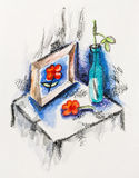 Still life with dead flower, vase and picture. Watercolor with slate-pencil painting Royalty Free Stock Images