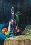 Still Life with Decanter. Stilllife with decanter, fruit, wine. oil painting Royalty Free Stock Images