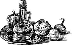 Still life with a decanter and vegetables Stock Photo