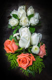 Still life decorated orange and white roses Royalty Free Stock Photo