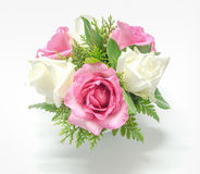 Still life decorated pink and white roses Stock Photo