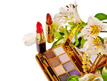 Still life decorative cosmetics and flower. Royalty Free Stock Photography