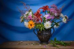 Still life- flower bouquet. Still life decorative- flower beautiful bouquet. Drapery background Stock Photos