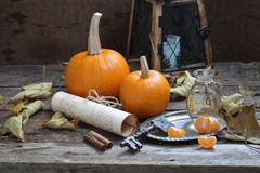 Still-life with decorative pumpkins and autumn leaves Stock Photography