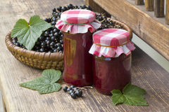 Still life with delicate jam and black currant Royalty Free Stock Image