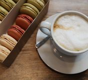coffee and macarons for Breakfast stock photography