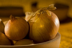 Still life with detail of onions Royalty Free Stock Images