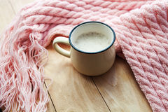 Still life details, cup of coffee and  knitted scarf Royalty Free Stock Photography