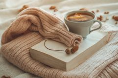 Still life in home interior of living room. Sweaters and cup of tea with a cone on the books. Read. Cozy autumn winter concept stock image