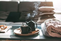 Tea with steam in room in morning sunlight Stock Image