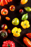Still life of different varieties of tomato royalty free stock photography