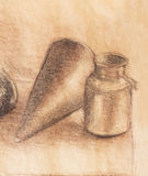 Still life drawing. Original hand draw on paper. Royalty Free Stock Photo