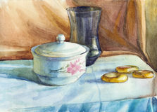 Still life drawn a watercolor Stock Photo