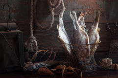 Still life with dried fish Royalty Free Stock Photography